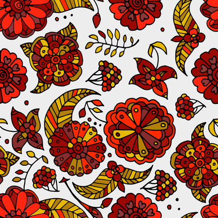 khokhloma: Hand drawn colored floral Khokhloma seamless pattern, red and yellow gold flowers, berries and leaves