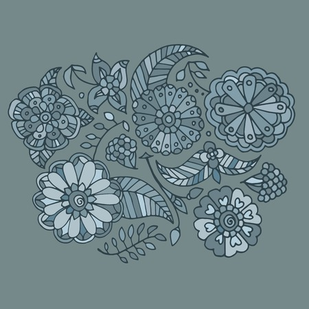 pale green: Hand drawn colored floral pattern, pale green flowers, berries and leaves Illustration