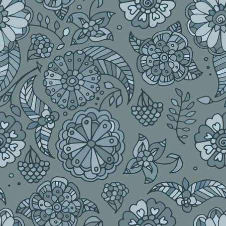 pale green: Hand drawn colored floral seamless pattern, pale green flowers, berries and leaves