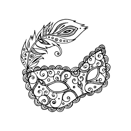 mardi gras mask: Black beautiful ornate carnival mardi gras mask, hand drawn vector illustration, white background