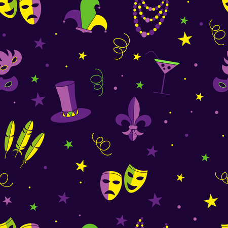 tall hat: carnival royal lily vector seamless pattern, deep purple background