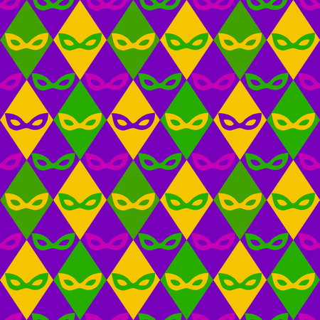 carnaval: carnival masks and rhombus vector seamless pattern
