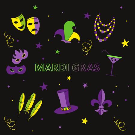tall hat: mardi gras vector illustration, deep purple background