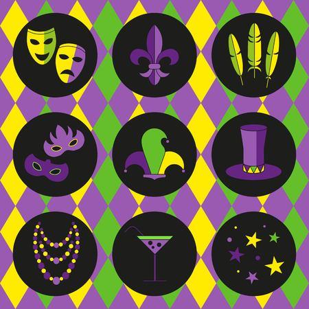 tall hat: mardi gras vector flat icon set, deep purple background