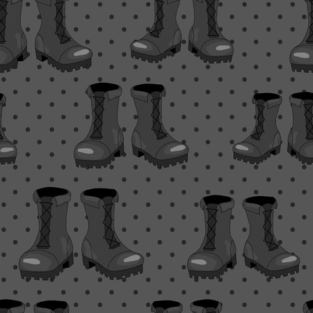 foot soldier: Grey colored army boot vector seamless pattern