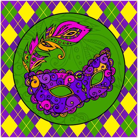 mardi gras mask: beautiful ornate carnival mardi gras mask, hand drawn vector illustration, white background