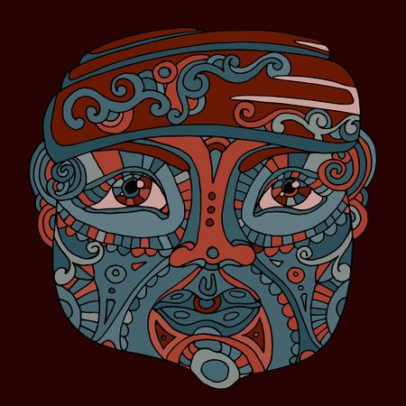 idol: hand drawn ethnic head, indian idol totem face, vector illustration