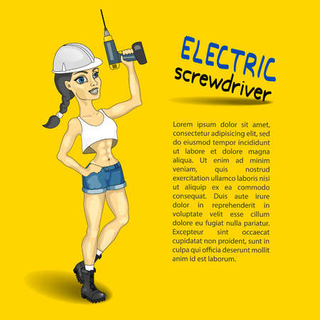 erector: electric screwdriver, mounting girl, erection work template, yellow background, vector illustration