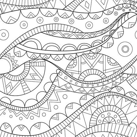 marocco: black ornate ethnic boho wave vector seamless pattern, white background