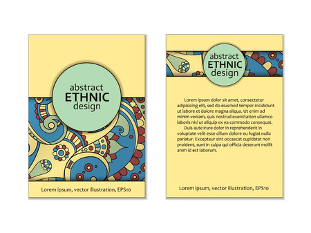 Ethnic card template, beautiful ornate, paisley motif business card, invitation template. Back and front page. Illustration