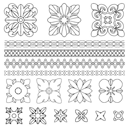 royal person: Set of square rosette design elements on white background. Handdrawn vector illustration