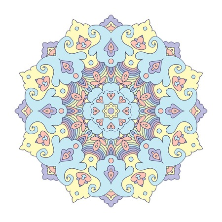 pastel colored: Pastel colored floral mandala, white background, hand drawn vector illustration