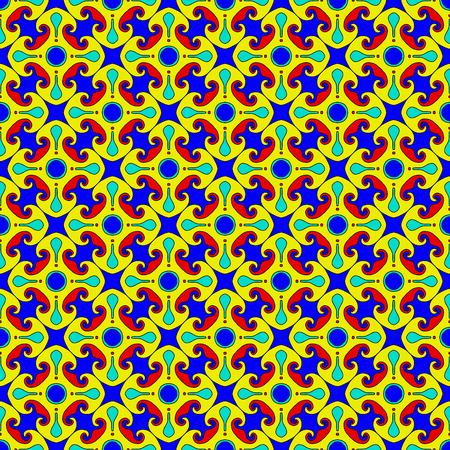 escarapelas: Color de fondo de la vendimia rosetas geométricas. Vector sin patrón