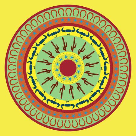 Southwest cowboy round mandala, vector illustration for design, yellow background