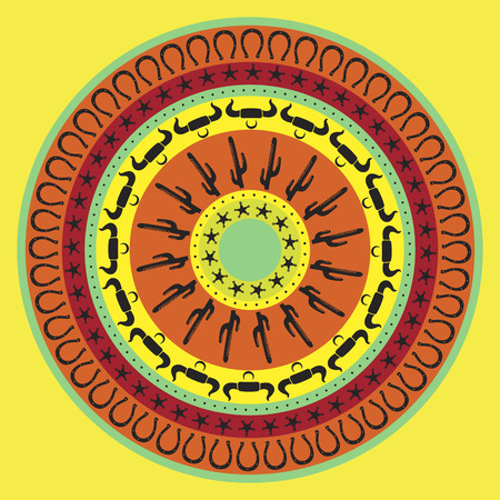 pueblo: Southwest cowboy round mandala, vector illustration for design, yellow background