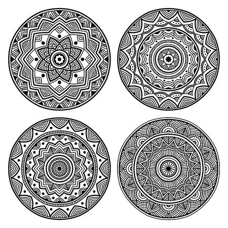 beautifull black simple orient mandala set on white background, round shape, four elements, vector illustration