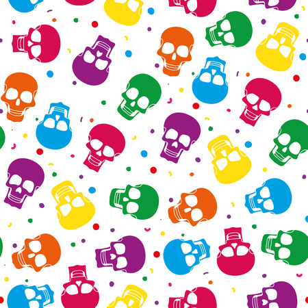 santa zombie: Funny colored skull seamless pattern, dulce muerte illustration