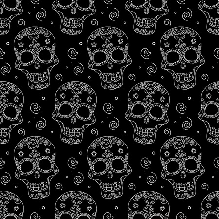 santa zombie: Funny colored skull seamless pattern, dulce muerte, vector illustration