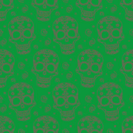 all souls day: Funny colored skull seamless pattern, santa muerte, vector illustration Illustration