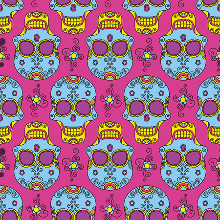 santa zombie: Funny colored skull seamless pattern, dulce muerte