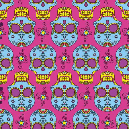 Funny colored skull seamless pattern, dulce muerte