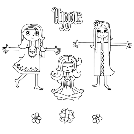 Muchacha Feliz Del Hippie, Vector Handdrawn Coloreado Brillante ...