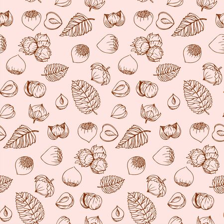 Graphics pattern Hazelnut. Nuts hand drawn, doodle style