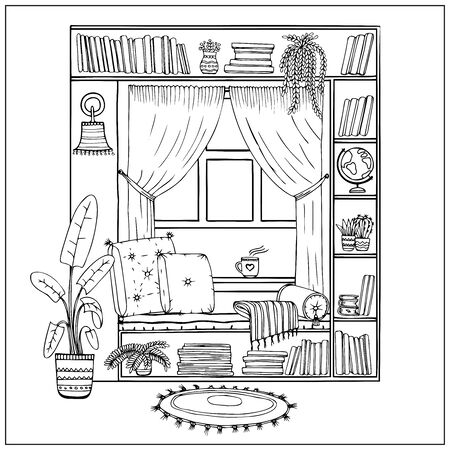 Vector illustration of cozy place to read books by the window