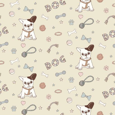 Dog items hand draw doodle vector pattern
