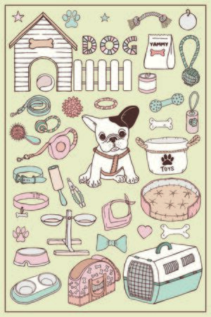 French bulldog and dog items set. Hand draw doodle vector graphics.