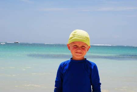 morelos: little boy on the exotic beach Stock Photo