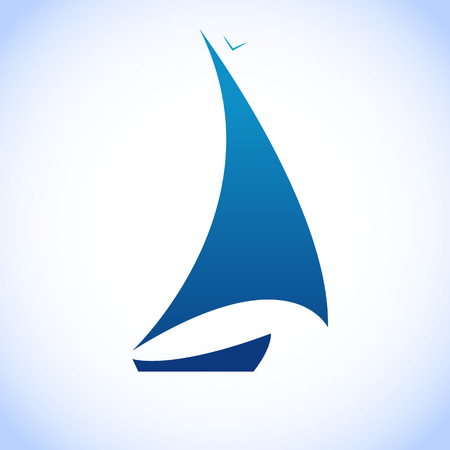 Modello di vela illustrazione barca blu Vettoriali