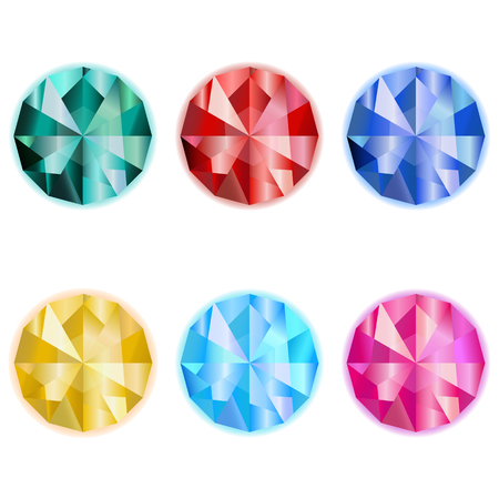 collection colorful jewelry gem emerald sardius sapphire topaz game icon on a white background Illustration