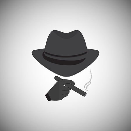 ruffian: Mafia picture. Silhouette of a man in a hat with a cigarette in his hand Illustration