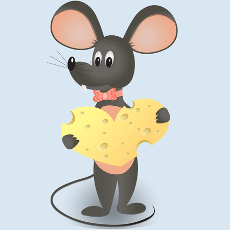 mouse with cheese in the form of heart.