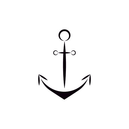 anchored: Flat style ship anchor icon vector isolated black