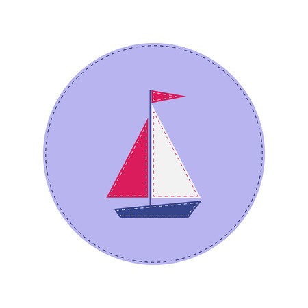 brigantine: ship with red and white sails stitched applique