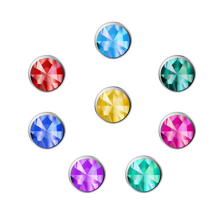 gemstone: Gemstone round shape in a silver frame. Set of buttons of jewels Illustration