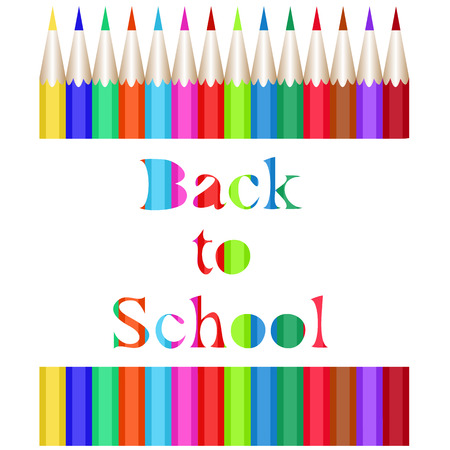 Collection of colored pencils. The carved inscription Back to School. Vector illustration of the first of September Illustration