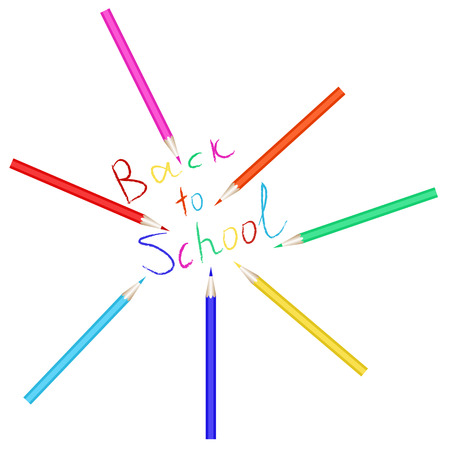 beginning school year: Vector set of colored pencils. The inscription back to school written with colored pencils