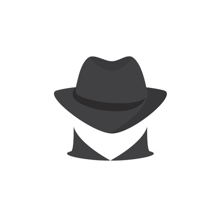 lurcher: Picture of a secret agent. Spy. Silhouette of a unknown man in a dark hat. Incognita. computer hacker on a white background Illustration