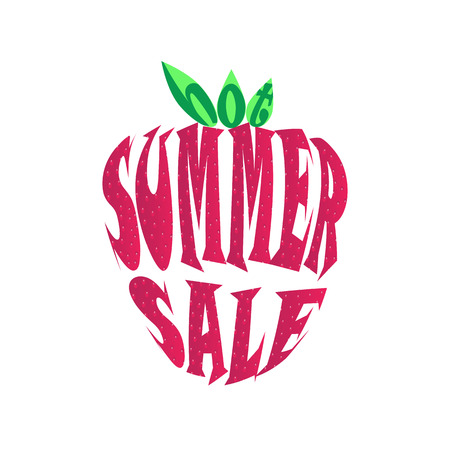 Hot summer sale poster. Inscription summer sale in strawberry style