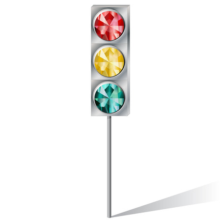 topaz: traffic light with precious stones ruby emerald topaz on a white background