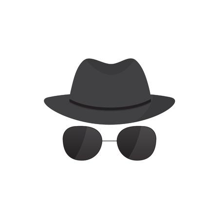 Geheimagent Symbol in einem Hut und Brille Vektorgrafik