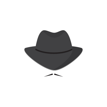 lurcher: An unidentified man in a hat with a mustache. Mafioso. Secret Agent icon Illustration