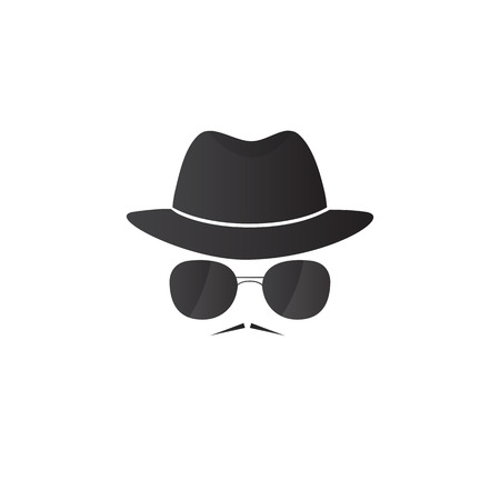 Unknown man in hat and glasses with a mustache. Detective icon. Spy vector