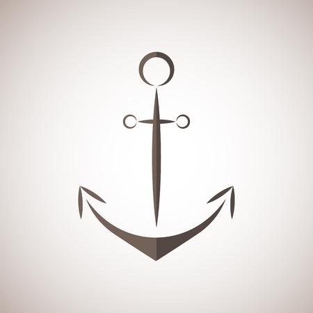 anchored: Nautical anchor two colors anchor icon anchor vector bruwn
