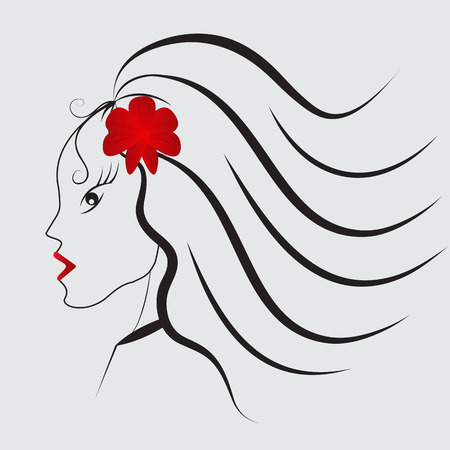 Girl with red flower and red lips.Vector illustration