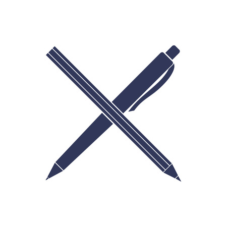 Pen and pencil vector icon. Office tools