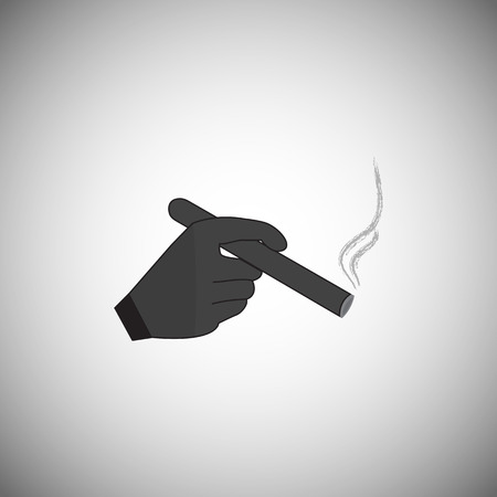 Mans hand holding a smoking cigarette. Vector illustration in style Mafia